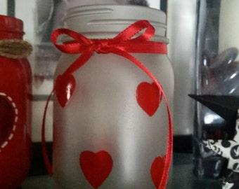 Valentines mason jar, valentines candle holder, heart jar, frosted mason jar