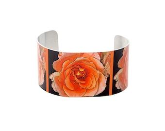 Photo cuff bracelet, aluminum, Really Rad Rose, fine art for wrist, HueDew