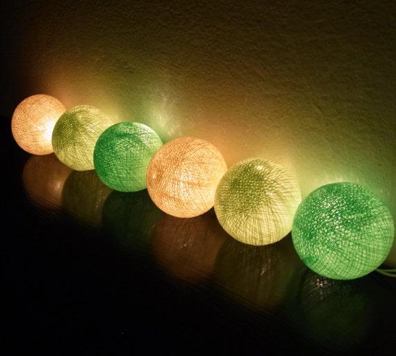 20Set Handmade Cotton Ball String Lights Cream Green Color