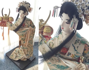 CLEARANCE!! 60% off! Traditional Japanese Kimono Doll holding Kabuto