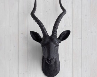 Faux Black Antelope Head by Wall Charmers™ - Fake Ceramic Animal Decorative Resin Mounted Replica Taxidermy Plastic Antler Decor Mount Art