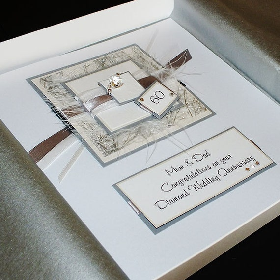 personalised boxed diamond 60th wedding anniversary card for