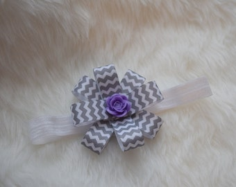 Gray and White Chevron with Lavendar Rose White Headband