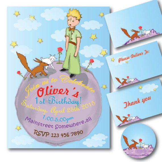 Little Prince Birthday invitation on the moon Printable – Little Prince Birthday Invitations