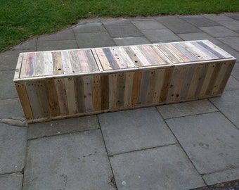 Handmade Rustic Storage Bench with Hinged Lids and Separate Internal Storage Compartments Reclaimed Wood