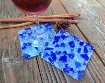 Recycled Wine Bottle Coasters(set of two), Fused Glass, Slumped Wine Bottle, Drink Coaster, Blue & White