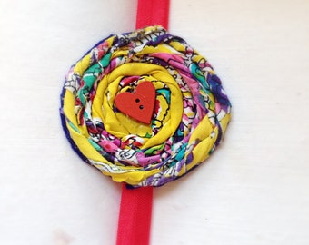 Red heart baby girl headband in mustard yellow Rosette