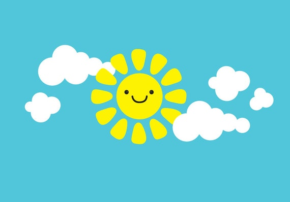 Cute Smiley sun with Clouds Wall Decal Sun Wall Decal Clouds