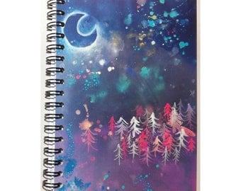 A6 notebook, spiral bound, blank plain pages. Crescent moon, landscape, galaxy, mystical, night sky, stars, night sky, gift, stationery, uk