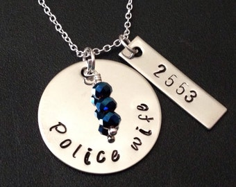 Hand Stamped Jewelry -Police Wife- hand stamped jewelry-personalized jewelry-sheriff wife-deputy wife-trooper wife - thin blue line