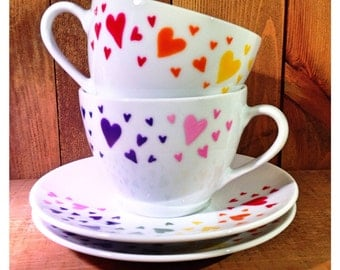 Two rainbow hearts cups gift set - tea cups, espresso cups or mugs (set of 2), colourful, wedding gift, Christmas gift, UK seller