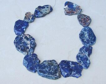 Blue Impression Jasper- Aqua Terra Jasper Stone Nugget Bead - Imperial Jasper Stone Slab - Center Drilled - 7 inch Strand - 30mm x 40mm