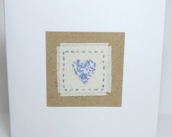 Hand Embroidered Birthday or Thank You fabric card with Heart design in upcycled fabric- recycled SALE!