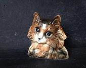 Vintage Ceramic Cat Planter Cell Phone Holder Organizer Cat Room Accessory