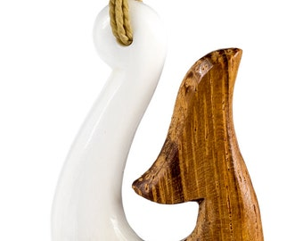 Hawaiian Hand Carved Wood and Bone Fish Hook Necklace