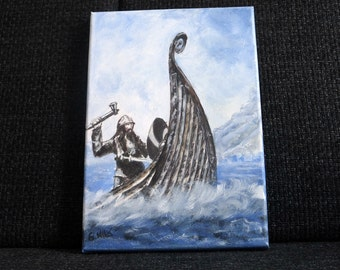 Viking on a boat painting