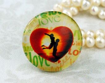 25mm 30mm Love Romantic silhouette cabochon Handmade glass photo cabochon 30P001