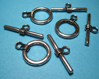 Antique Silver Plated Toggle Clasps, Jewelry Findings