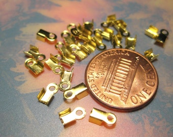Gold Plated Looped End Caps Crimps Beads 3x6mm Cord End (No.209)