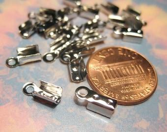 100pcs Silver Tone Necklace/ Cord Crimp End Caps, 9x4mm Cord End (No.241)