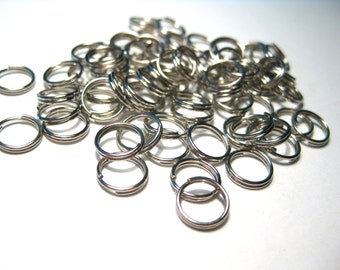 Silver Tone Double Loops Split Open Jump Rings 8mm (No.155)