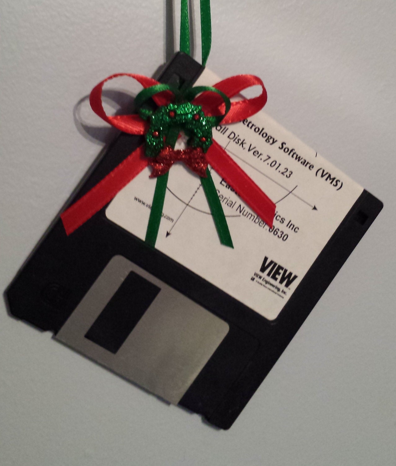 GEEK Christmas Ornament - Computer Floppy Disk with Mini Christmas Wreath