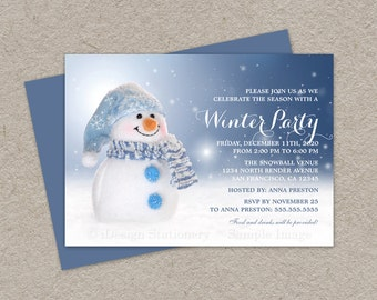 DIY Printable Winter Holiday Party Invitations With A Cheerful Snowman In Snow, Snowman Invitation Cards