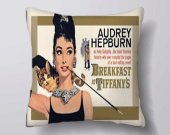 Audrey Hepburn breakfast at tiffany's  movie - Cushion Fabric Panel Or Case or with Filling