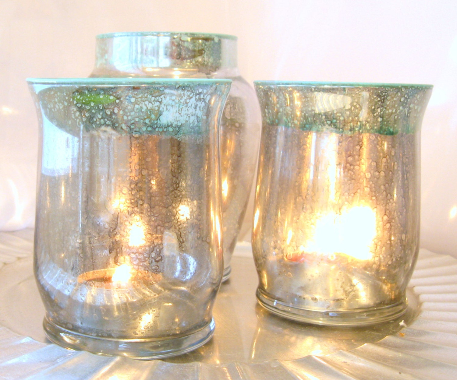 Mercury Glass Candle Trio Small Hurricane Candle Holders