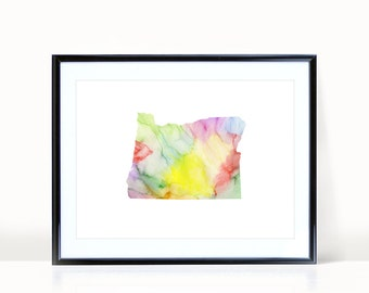 Oregon State Wall Art, Watercolor Print INSTANT DOWNLOAD