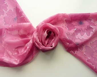 "Hand painted silk scarf. Handpainted silk scarf. Dark pink silk scarf with flowers. 17 x 71"", 45 x 180 cm."