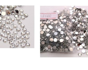 1440 Pieces Of Brilliant 14-Cut Round Rhinestones Flat Back Rhinestones Round Brilliant 3 mm -10ss, For Creating Phone Covers Or Any Purpose