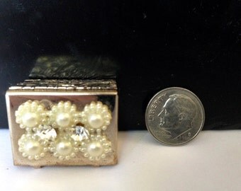 MINIATURE BRASS BOX with Pearl and Rhinestone decor. A Charming small Collectible