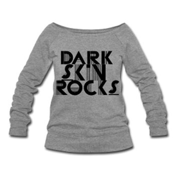 Dark Skin Rocks Wide Neck Off Shoulder Slouchy Women's Sweatshirt - Gray