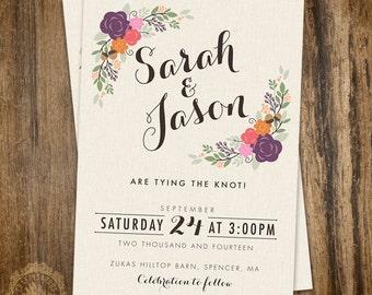 Floral Wedding Invite. Rustic Wedding Invite. Digital Wedding Invite. Printable Wedding Invitation.