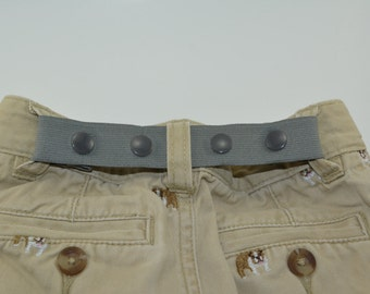ELASTIC SNAP BELT. Toddler belt. Baby belt. Children's belt. Kids belt. Waistband Cincher. Grey elastic belt.