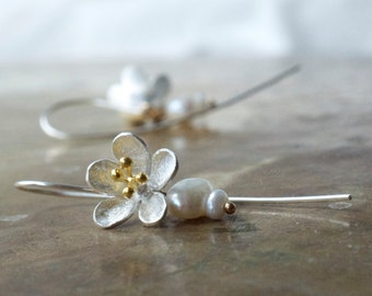 Bridal pearl earrings, Sterling silver flower earrings, Cherry blossom earrings, Sakura jewellery, Floral earrings, Unique bridal earrings