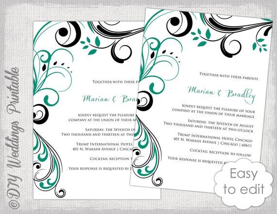 Wedding invitation templates Emerald Green and black