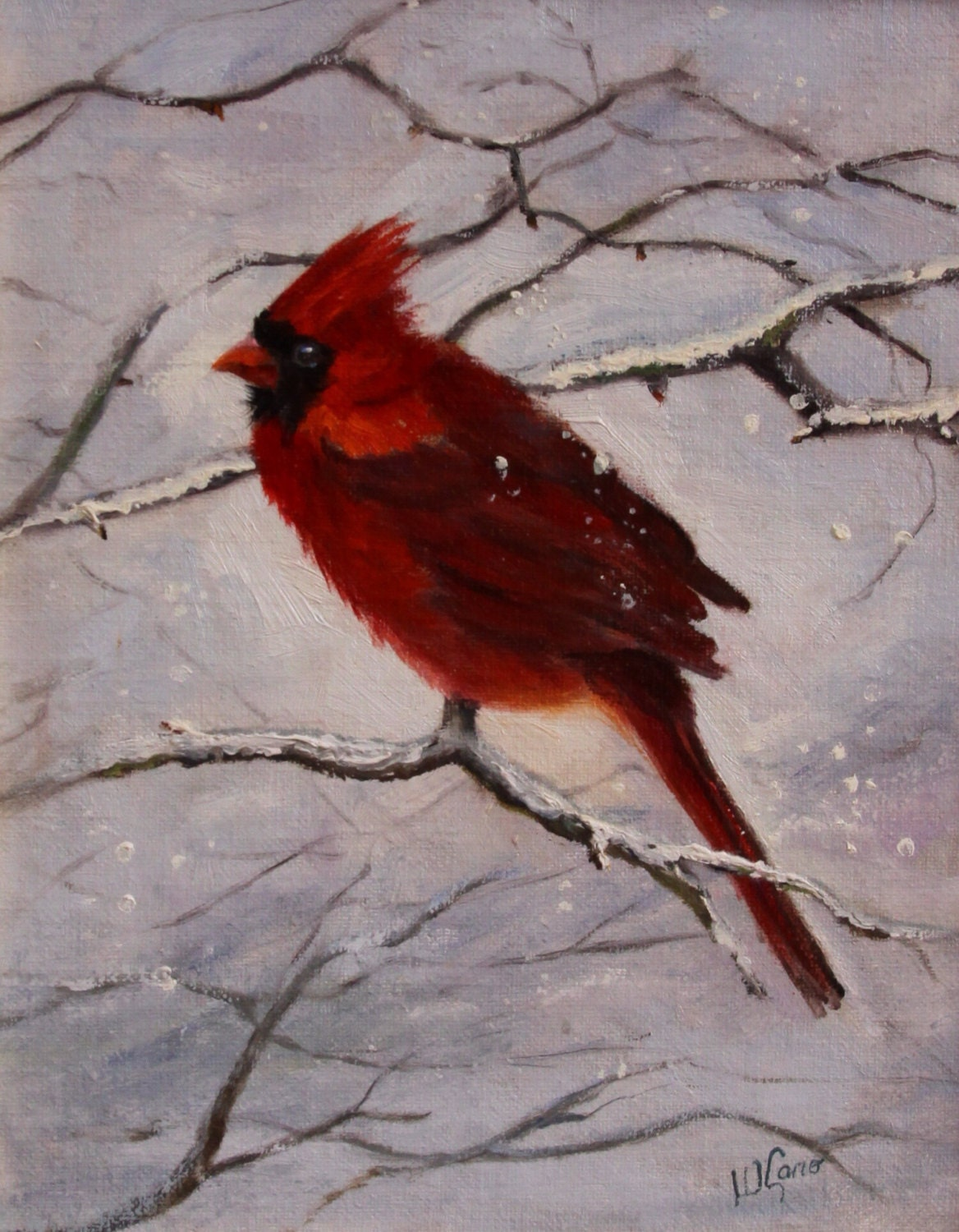 Male Red Cardinal Bird original oil painting snow and ice