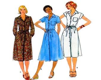Butterick 5924, Shirtwaist Dress, Sewing Pattern, Button Front, Aline Skirt, Sleeves Options, Point Collar, Drawstring Waist, Size 10, 70s