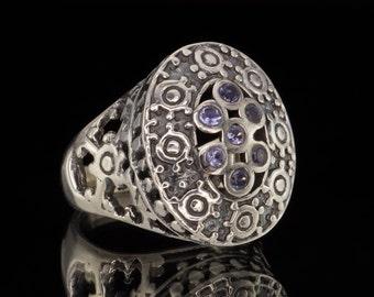 Amethyst & 925 Sterling Silver Ring #012