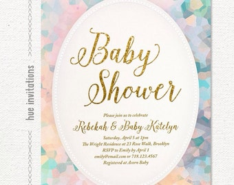 baby shower invitation for girl, pastel watercolor boho chic gold glitter girl baby shower invitation, pink blue yellow baby sprinkle invite
