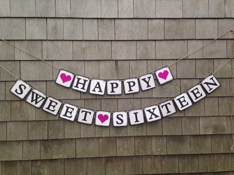 sweet sixteen banner sweet sixteen birthday decor sweet