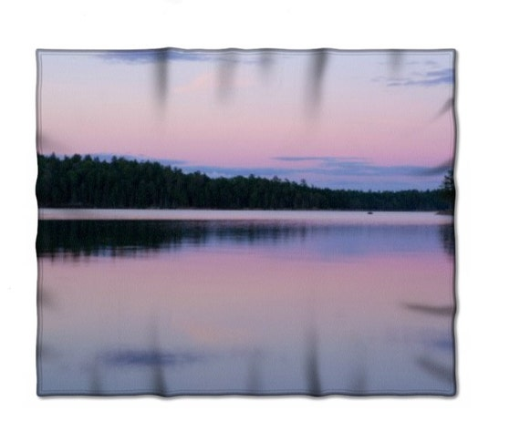 Fleece Blanket, Pink and Purple, Pastel Color, Lake Photography, BWCA Image, Cozy Throw, Lap Blanket, Full Size, Queen Sized, Unique Bedding