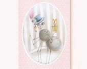 Miss Spider: whimsical birthday card ,pastel blue,pink,eco -friendly