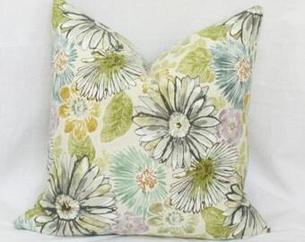 "Green teal floral decorative throw pillow cover. 18"" x 18"" toss pillow. Accent pillow."
