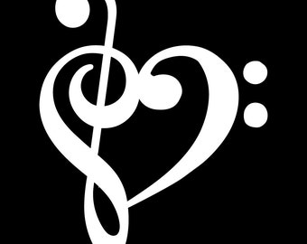 Treble and Bass Clef Heart Decal Sticker