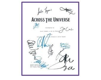 Across The Universe Signed Screenplay Autographed: Evan Rachel Wood, Jim Sturgess, Julie Taymor, Orfeh, Logan Marshall-Green, Salma Hayek