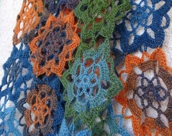 Crochet Motif Alpaca Stole//Free Shipping//Sale
