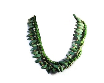 Green Multistrand Lightweight Wooden Bead Necklace Fabulous Accessory Free Shipping to USA